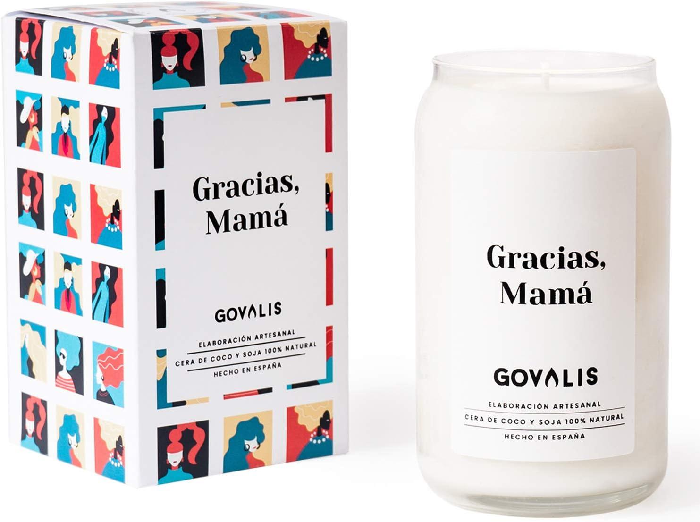GOVALIS Vela Gracias, Mamá | Perfumadas y Aromáticas | Cera de Soja & Coco 100% Natural – Vela Día de la Madre Recuerdos Decorativas Yoga Cumpleaños Regalos Originales – 70-90 h – 390 g