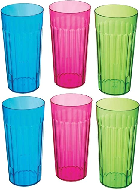 Arrow Clear Plastic Tumbler pack of 2 glasses 11 oz Made In USA Stackable