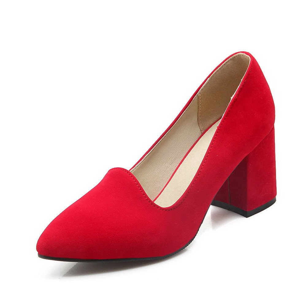 AmoonyFashion Women's Frosted Pointed Closed Toe High-Heels Pull-on Solid Pumps-Shoes, Red, 36