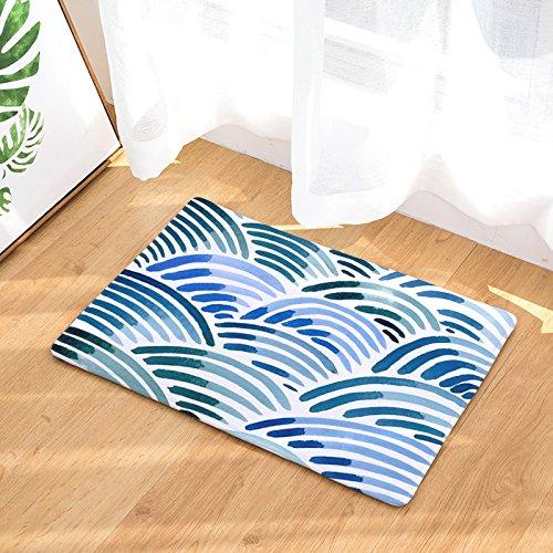 (YQ Park Indoor Tibetan Blue Wavy Stripes Doormat Super Water Absorbent Door Mat, Entry Way Rug for High Traffic Areas)