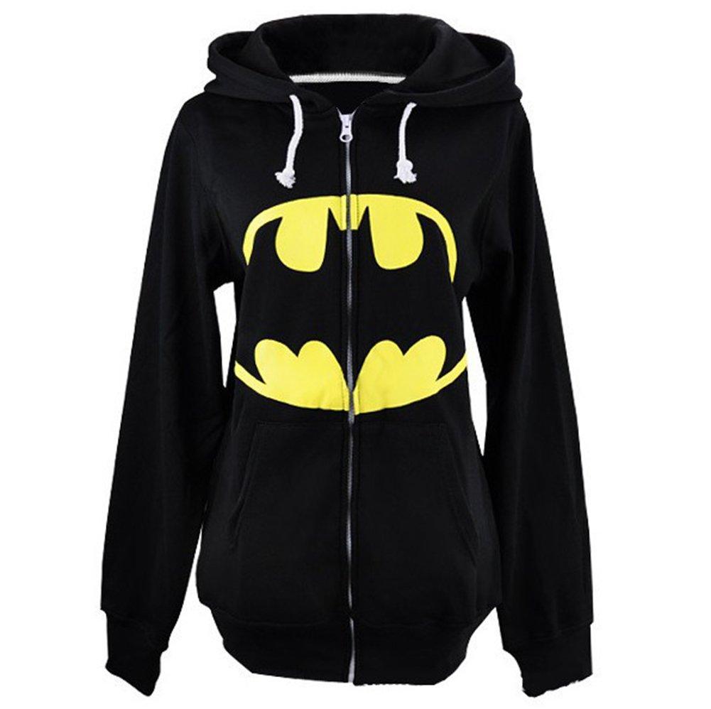 Batman Superman Sweatershirts Casual Zip Long Sleeve Sports Pullover Hooded Black Tag XL