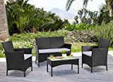 Homewell 4pc Wicker Patio Furniture Set Cushioned Loveseat, Chairs & Table for Dining Lounge (Black)