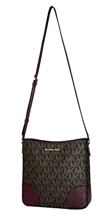 018f065d0a MICHAEL Michael Kors Women s HATTIE Large Messenger Shoulder Handbag (Brown  Plum)