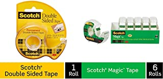 product image for Scotch Brand Double Sided Tape, Strong, Photo-Safe, Engineered for Holding, 3/4 x 300 Inches with Magic Tape, 6 Dispensered Rolls, Writeable, Invisible, The Original