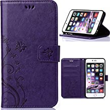 Iphone6 Elegant Wallet Case, 4.7inch Apple iphone6s Beautiful Case, Flower Butterfly Pattern Premium PU Leather Wallet Case with Wrist Strap Flip Case Cover (purple)