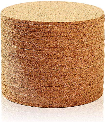 Juvale Set of 24 Cork Bar Drink Coasters  Absorbent and Reusable  Tan  4Inches 1/8Inch Thick