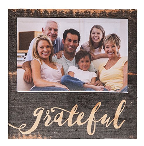 Grateful Script Dark Brown Distressed 7 x 7 Wood Box Wall Photo Frame Plaque