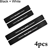 KaaHego 4PCS Car Sticker Universal Anti-Scratch Door Sill Car Decal for Car Sticker Decal for - BALENO (Black+White)