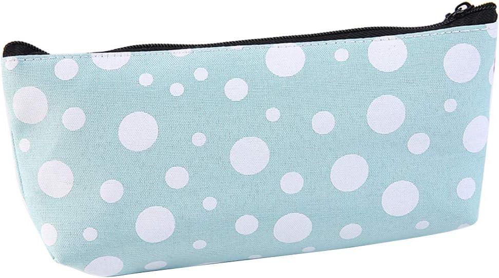 geshiglobal - Estuche de lona para lápices (tamaño grande), diseño de lunares, color blanco, color azul: Amazon.es: Oficina y papelería