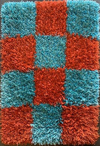 Rose Delux Door Mat Checkered Turquoise Orange Rust Thick Fluffy Furry Designer Shag (2 Feet X 3 Feet 4 Inch)