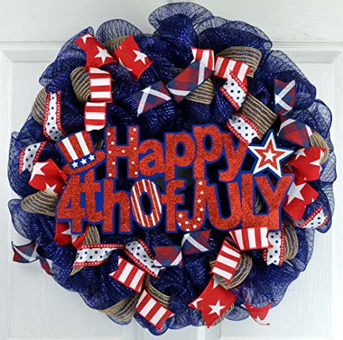 July 4th Wreaths (Happy Fourth of July Wreath | Independence Day Decor | 4th of July Mesh Wreath | Red Navy)