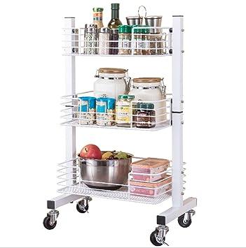 XTC-YJ Carrito de Cocina Malla Enrollable de Utilidad de Metal de 3 Niveles Carrito de Almacenamiento de Malla Ideal para la habitación de la Cama Cocina ...