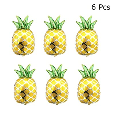 JANOU Pineapple Balloons Mylar Helium Hawaiian Gold Pineapple Balloons for Wedding Birthday Summer Tropical Luau Party Decoration Pack 6pcs: Toys & Games
