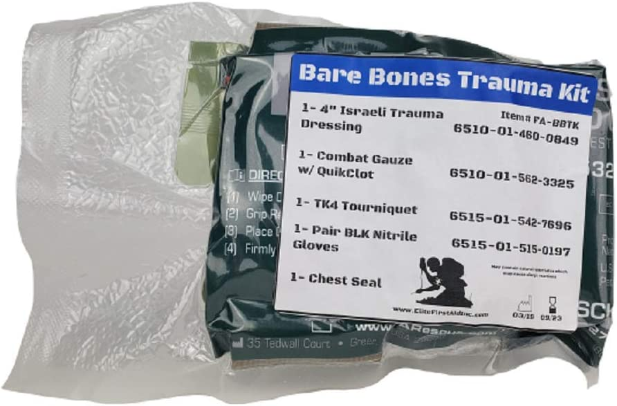 EDC Compact Bare Bones Trauma Kit: Health & Personal Care