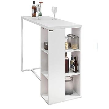 SoBuy Bancone Bar da casa Tavolo Cucina Altezza 105 cm,Bianco,FWT39 ...
