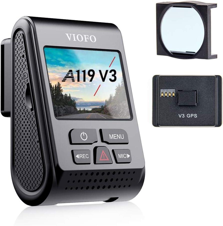 【Bundle: VIOFO A119 V3 Dash Cam + VIOFO CPL】 VIOFO A119 V3 Dash Cam 2K Quad HD 1600P with GPS, True HDR, Super Capacitor, Buffered Parking Mode, Motion Detection
