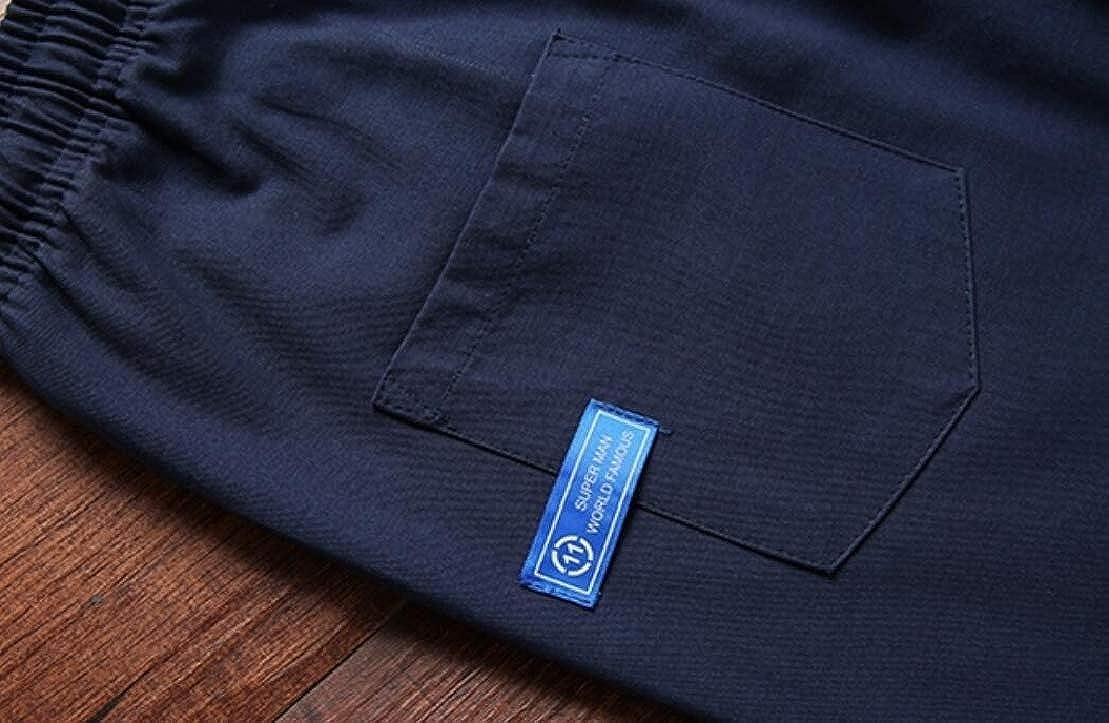 UUYUK Men Cotton Elastic Waist Drawstring Basic Athletic Pockets Shorts