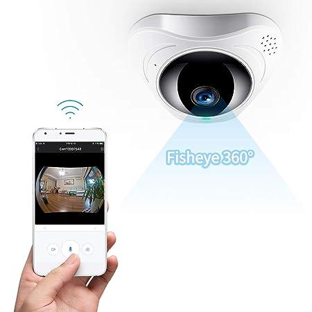 FREDI HD WLAN IP Kamera 360° Sicherheitskamera IP Cam Fischaugenobjektiv Überwachungskamera WLAN Kamera Panorama Videoüberwac