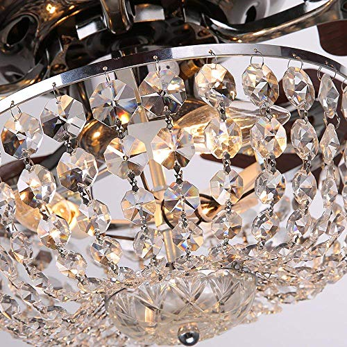 LuxureFan Retro Crystal Ceiling Fan Light with Elegant Crystal Cover and 5 Premium Metal Leaves Elegant for Modern Living Room Restaurant Pull Chain Control of 48Inch  by Luxure Fan (Image #4)