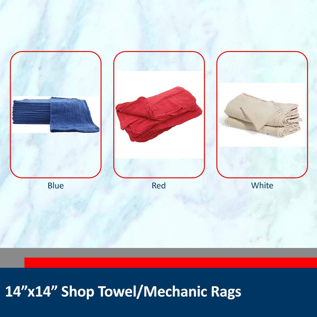 Sara Glove 14x14 Inch Shop Towel/Cleaning Mechanic Rags - 100% Cotton Commercial Towels, Perfect for Automotive Garage, Kitchen, Home (Blue) (100 Count) by Sara Glove (Image #2)