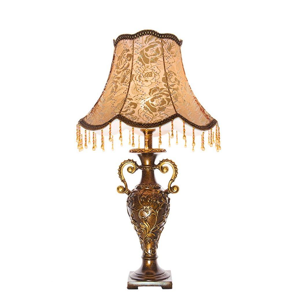 Europäische Retro-Stil Carving Tuch Tischleuchte Hochzeit Schlafzimmer Nachttischlampe Antike Harz Schreibtischlampe für Schlafzimmer Wohnzimmer Arbeitszimmer Leuchten (Farbe   Dimmschalter)