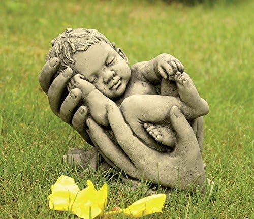 CATART Figura Decorativa Bebe en Manos en hormigón-Piedra para el jardín Exterior 30X28cm.: Amazon.es: Jardín