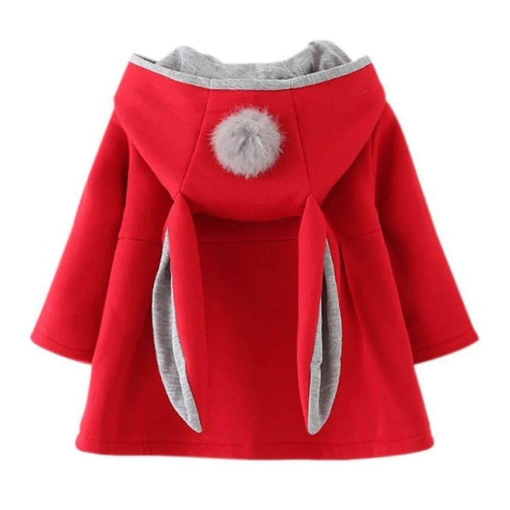 Gemini_mall Baby Girls Cute Rabbit Ears Cloak Hooded Autumn Winter Warm Coats Jackets Outerwear