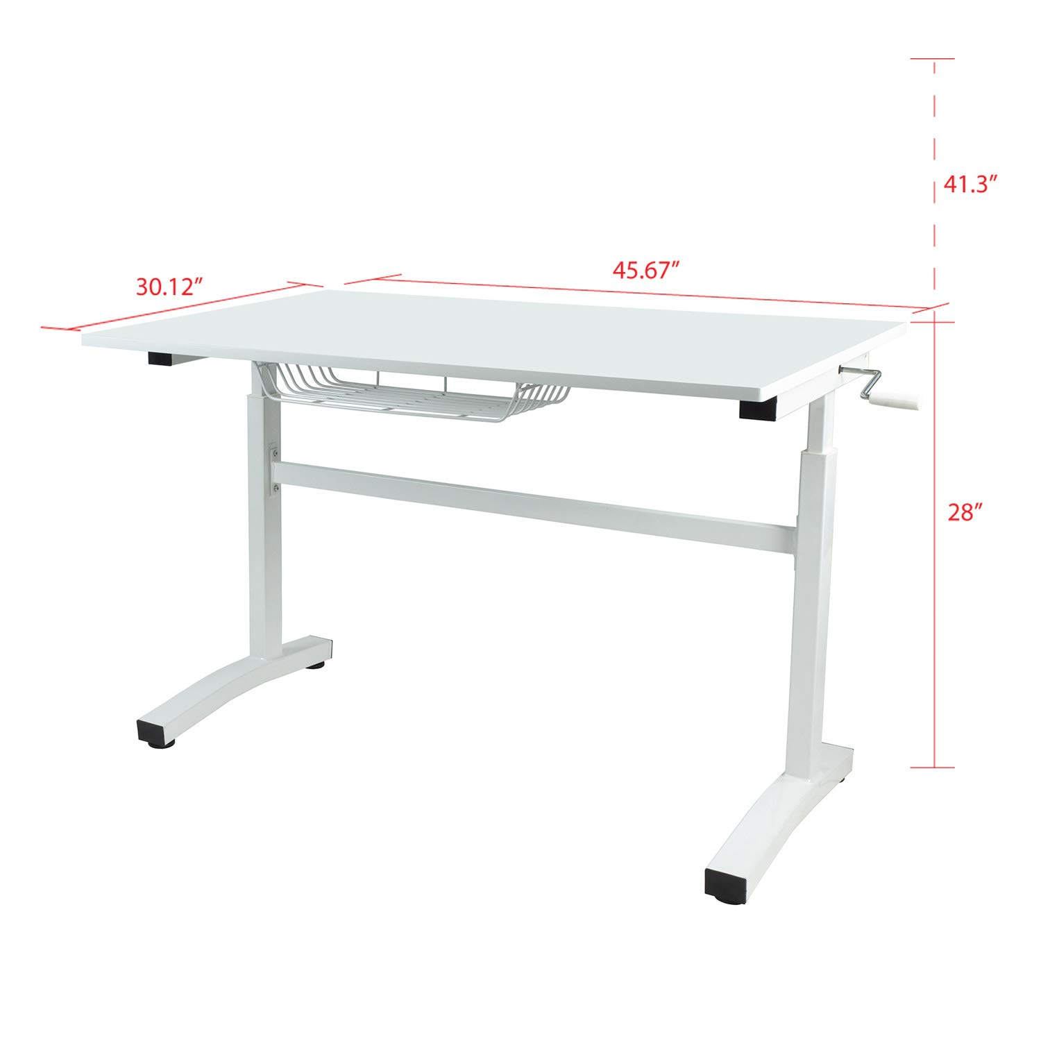 Atlantic Crank Adjustable Height Desk - Sit or Stand at This Large Workspace, Heavy Gauge Steel Frame in White (White, Without Casters)