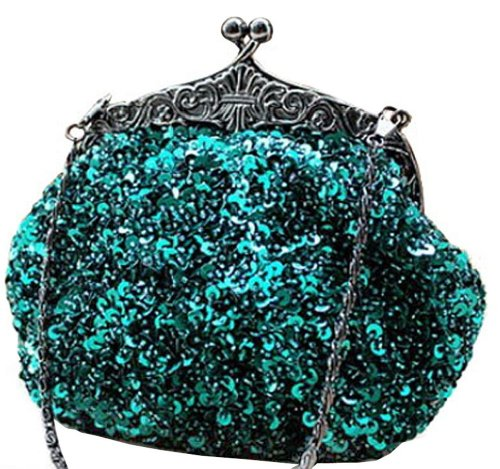 Evening Purse Full Style Cocktail Clutch Green Beaded Mesh Antique Formal Chicastic Wedding Sequin 0qdwPT4T