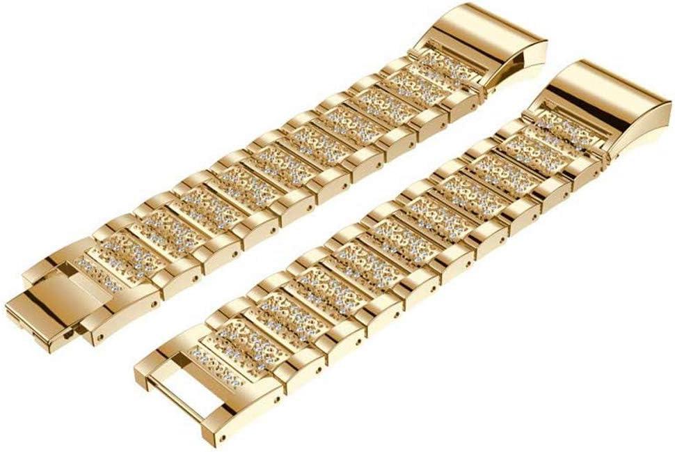Soulitem Bandes de remplacement en métal avec strass Bracelet décoratif de bracelet en strass pour Fitbit Charge 2