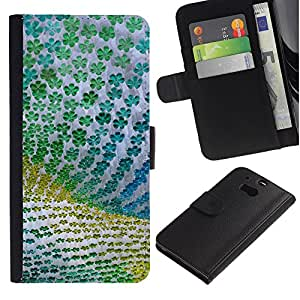 HTC One M8 Modelo colorido cuero carpeta tirón caso cubierta piel Holster Funda protección - Floral Pattern Fabric Green Summer