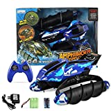 Fun Little Toys RC Remote Control Amphibian Vehicle, Land & Water Tank Car With Durable Motor, Military Used Solider Twister Boat - Disruptive Pattern … (Blue)