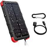 OUTXE USB C Solar Powered Phone Charger 10000mAh with Flashlight IP67 Waterproof Solar Power Bank Rugged for Hiking Camping B