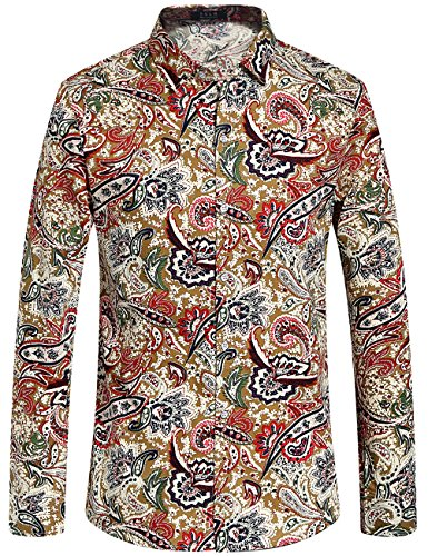 SSLR Men's Paisley Cotton Casual Button Down Long Sleeve Shirt (Medium, Multicolor) (Disco Themed Clothes)