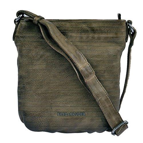 FREDsBRUDER Umhängetasche S. C. Round Crossbody Bag Leder Khaki Oliv Grün Damen