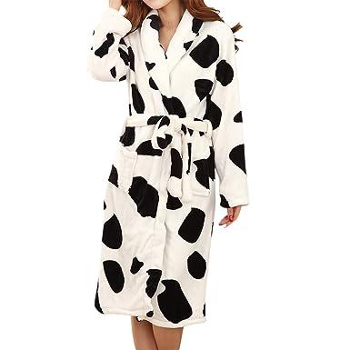 LAPAYA Women's Kimono Robe Microfiber Fleece Knee Length Soft Warm Plush Bathobe, Cow, Small/Medium