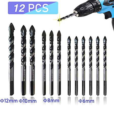 12PCS Multi Purpose Carbide Tip Drill Bit Set Special for Tiles Cement Concrete Plastics