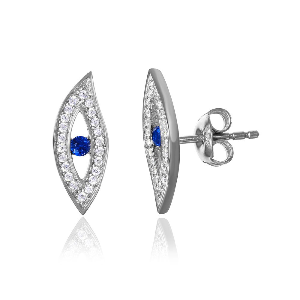 Simulated Sapphire Cebter Clear Cubic Zirconia Evil Eye Earrings Rhodium Plated Sterling Silver