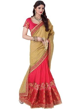 ae7c3816e9 Amazon.com: EthnicWear New Elegant Art Silk Net Designer Pink Beige  Beautiful Half n Half Indian Women Wear Saree Sari: Clothing