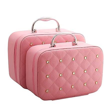 97d9f1ce5e LXY Large-capacity Cosmetics Korea Storage Bag Travel Cute Suitcase  Portable Size Simple Mini Cosmetic Bag Storage basket (Color   PINK)   Amazon.co.uk  ...