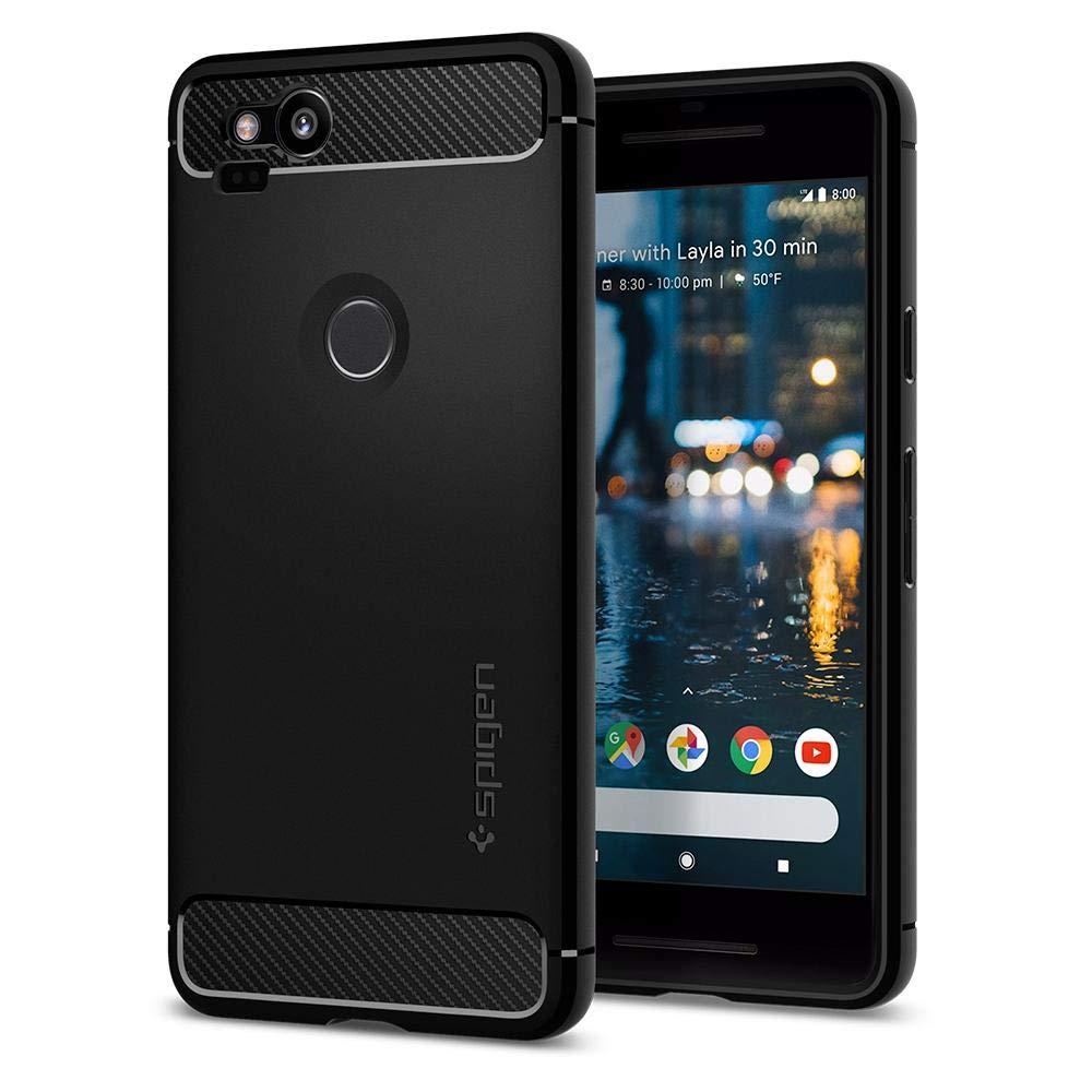 Pixel 2 Case, Google Pixel 2 Case, Spigen Rugged Armor - Resilient Carbon Fiber Design Soft Case for Google Pixel 2 (2017) - Black F16CS22271