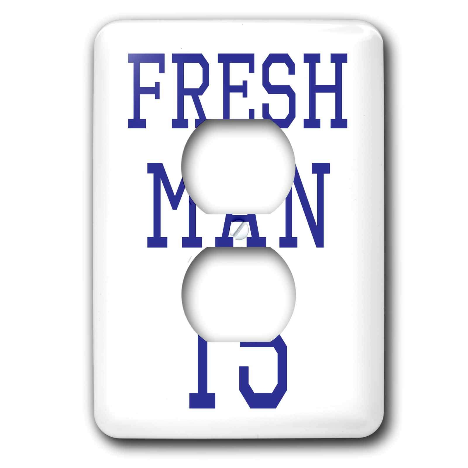 3dRose Becky Nimoy Stationery – Funny - Freshman 15 in navy blue sport style font - Light Switch Covers - 2 plug outlet cover (lsp_291927_6)