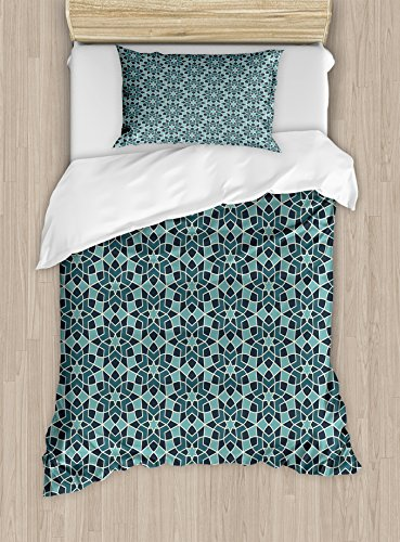 Ambesonne Arabian Duvet Cover Set Twin Size, Arabesque Persian Geometric Complex Lines and Floral Patterns in Retro Style Culture Art, Decorative 2 Piece Bedding Set with 1 Pillow Sham, Blue by Ambesonne