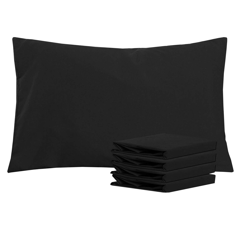 NTBAY 100/% Bross/é en Microfibre Taie doreiller Lot de 4 Doux et Confortable Anti-Rides Fondu Noir 50 x 75 cm R/ésistant aux Taches