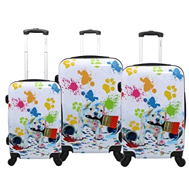 908a7bc97b1f Chariot Doggie 3-Piece Expandable Hardside Spinner Luggage Set-Paint