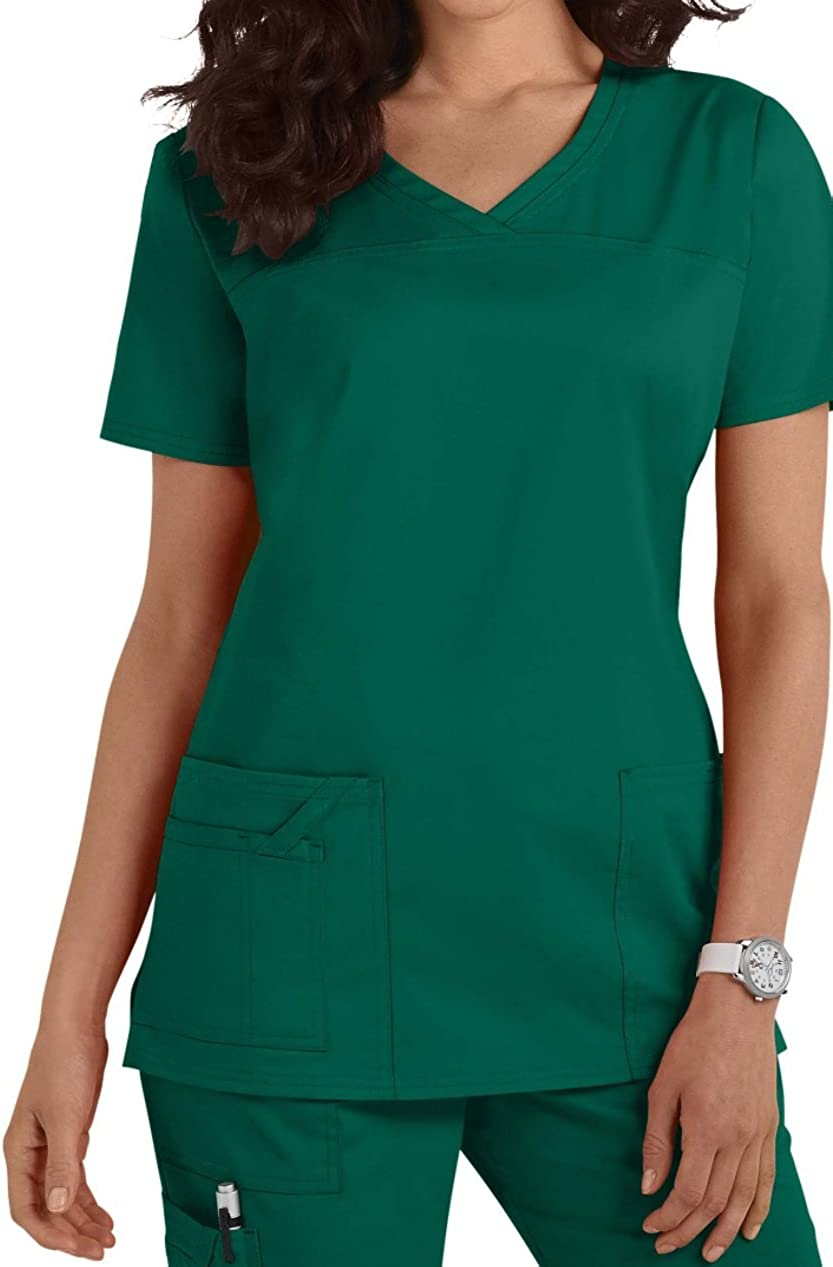 New Edition Smart Uniform Workwear Core Stretch Shaped V Neck Scrub Top