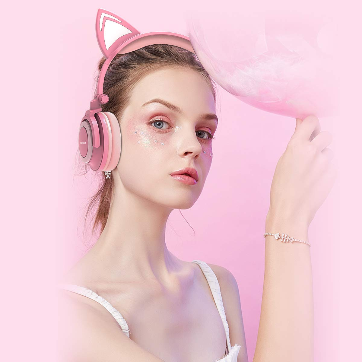 Isightguard Kids Headphones, Wired Headphones On Ear, Cat Ear Headphones with LED for Girls, 3.5mm Audio Jack for Cell Phone,Pink by isightguard (Image #7)