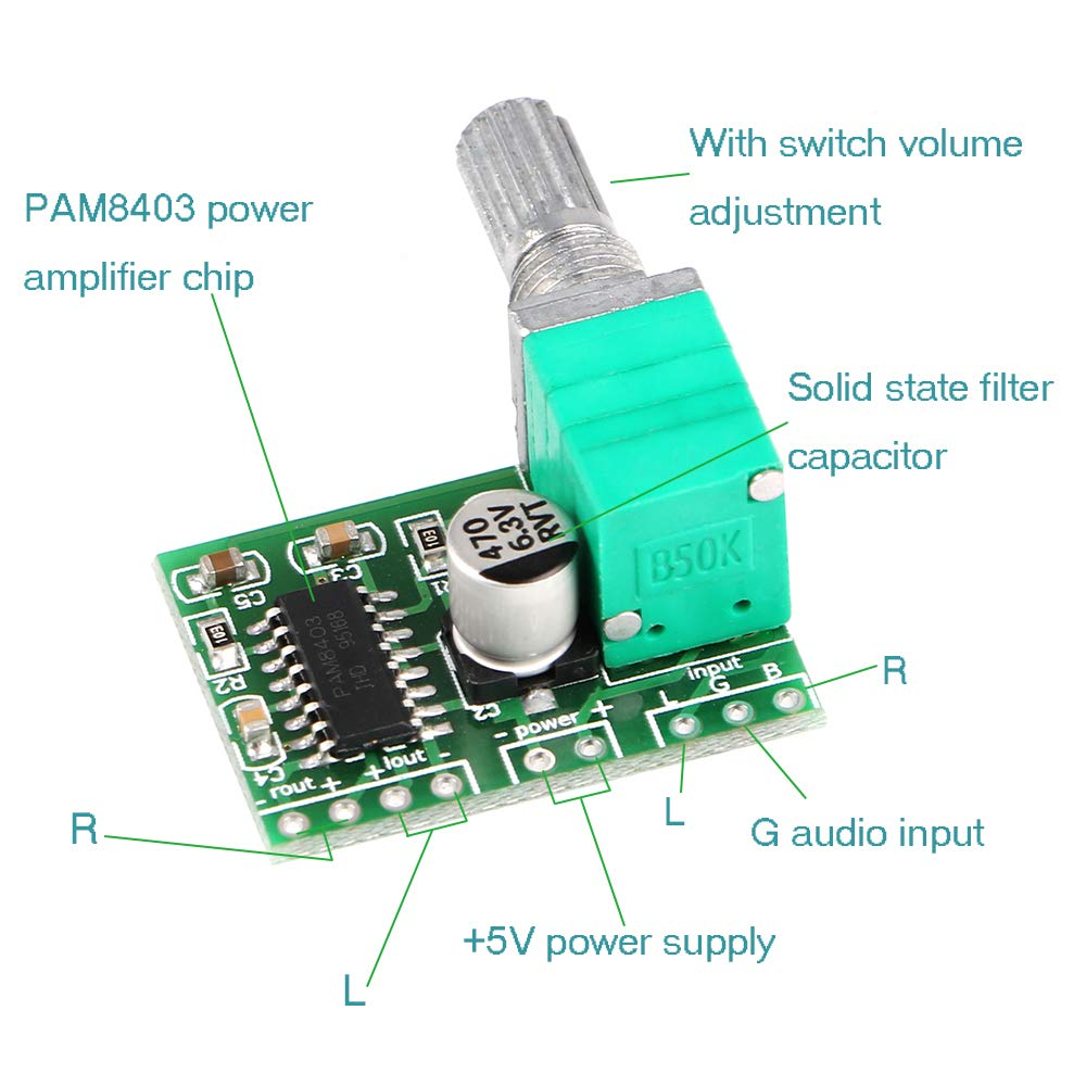 Innovateking Eu 4pcs Mini Pam8403 3w Dc 5v Audio Amplifier 2 Digital Hifi Board Stereo Channel Usb Power Module Amplifiers With Potentiometer For