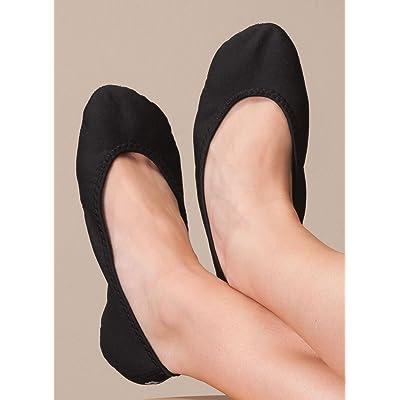 NuFoot Ballet Flats Women's Shoes, Best Foldable & Flexible Flats, Slipper Socks, Travel Slippers & Exercise Shoes, Dance Shoes, Yoga Socks, House Shoes, Indoor Slippers, Color Block, Medium: Health & Personal Care