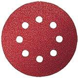 Bosch 2609256A26 Feuilles abrasives pour Ponceuses excentriques Diamètre 125 mm 8 trous Grain 120 Lot de 5 feuilles